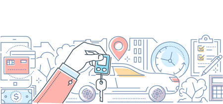 Car rent - modern line design style vector illustration on white background. High quality composition with a vehicle, hand holding key, timer, geo location, check list, ways of payment