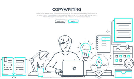 Copywriting - modern line design style web banner on white background with copy space for your text. A composition with a young male freelance specialist working at the laptop. Creative writing concept