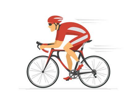 Ciclismo - ilustración de personaje de dibujos animados de vector colorido moderno sobre fondo blanco. Composición de alta calidad con joven en ropa deportiva, casco, andar en bicicleta. Estilo de vida saludable