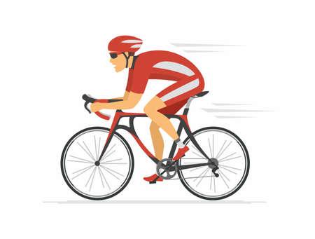 Radfahren - moderne bunte Vektorzeichentrickfilm-figurenillustration auf weißem Hintergrund. Hochwertige Komposition mit jungem Mann in sportlicher Kleidung, Helm, Fahrradfahren. Gesunder Lebensstil
