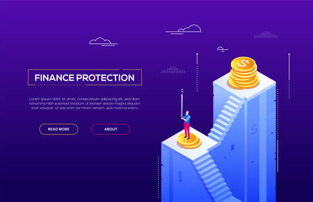 Finance protection - modern isometric vector website header on purple background with copy space for your text. A banner with businessman standing on the staircase holding a sword, images of coins Illustration