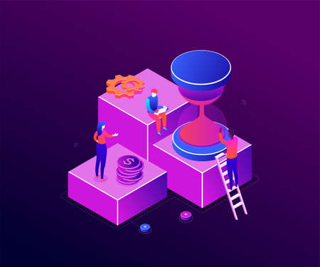 Time management - modern colorful isometric vector illustration on purple background. High quality composition with business people, team working on a project, image of a big hourglass, coins, gears
