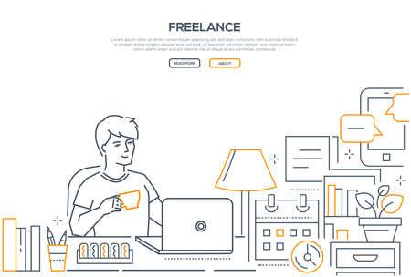 Freiberuflich - Webbanner im modernen Liniendesign auf weißem Hintergrund mit Kopienraum für Ihren Text. Eine Komposition mit einem jungen männlichen Arbeiter, der am Laptop sitzt, Kaffee trinkt und von zu Hause aus arbeitet