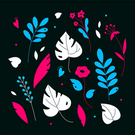 Floral ornament - modern flat design style illustration on black background. High quality blue, white and pink images of flowers, leaves, plants, minimalistic herbal elements. Abstract composition