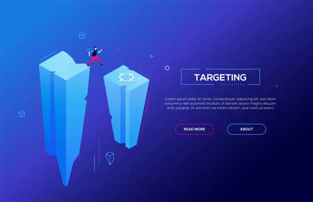 Targeting - modern colorful isometric vector web banner on blue background with copy space for text. High quality header with businessman jumping from a rock, trying to achieve his goal, reach the aim