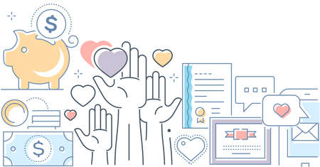 Fundraising - modern line design style vector illustration on white background. Images of hands, certificate, mobile app, piggy bank, coins. Volunteering, donation, crowdfunding0 concept, social theme Vecteurs
