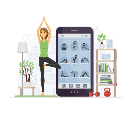 Yoga online - modern vector cartoon character illustration