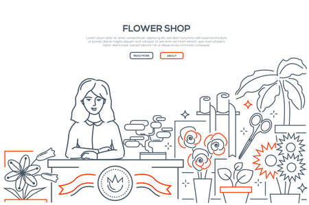 Flower shop - modern line design style web banner on white background with place for text. High quality composition with a young smiling female florist at the counter, store, selling plants, bouquets 向量圖像