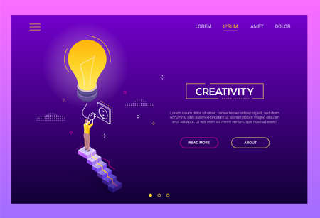Creativity concept - modern isometric vector website header on dark purple background with copy space for text. A banner with businessman, worker standing on the staircase, switching on a lightbulb