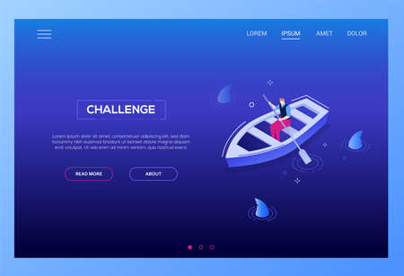 Challenge concept - modern isometric vector web banner on dark blue background. High quality colorful illustration with businessman, manager rowing boat in the pool full of sharks. Risk, danger theme Illustration
