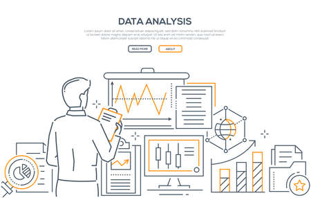 Data analysis - modern line design style web banner on white background with copy space for your text. A composition with a male specialist, businessman images of infographic charts, diagrams, folders