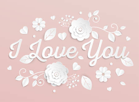 I love you - modern vector colorful illustration on light pink background. High quality greeting card template with white paper cut clover leaves. Romantic composition Ilustração
