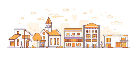 Suburban landscape - modern thin line design style vector illustration on white background. Orange colored high quality composition with facades of buildings, town hall, shops, trees, people walking Illustration