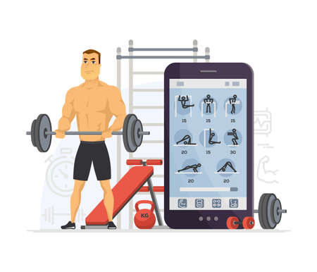 Fitness app - modern vector cartoon character illustration isolated on white background. A composition with sportive man, powerlifter using mobile service to do exercises, workout. Healthy lifestyle Illustration
