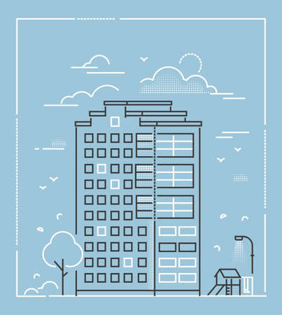 Modern building - line design style vector illustration on blue background. High quality composition with skyscraper, apartment house, slide, swing, lantern. City architecture concept