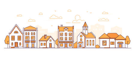 Town life - modern thin line design style vector illustration on white background. Orange colored composition, suburban landscape with facades of buildings, town hall, shops, trees, people walking Illustration