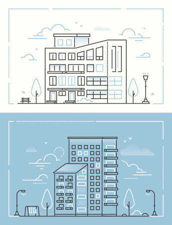 City buildings - set of thin line design style vector illustrations on white and blue background. High quality collection of two apartment houses, private buildings, lantern, trees, bench, swing