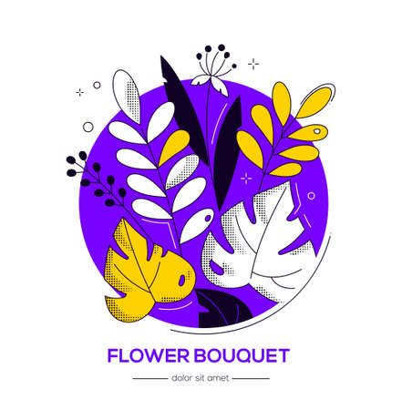 Flower bouquet - modern flat design style illustration in round shape on white background with copy space for text. Purple, yellow colors. High quality banner with leaves, plants, herbal elements