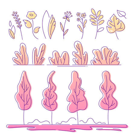 Floral elements - modern flat design style elements isolated on white background. High quality set of images, minimalistic colorful linear bushes, plants, wild herbs, leaves in yellow and pink colors