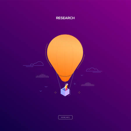 Business research - modern isometric vector web banner on dark purple background. High quality illustration with businessman, manager flying on a hot air balloon, looking into the distance, dreaming