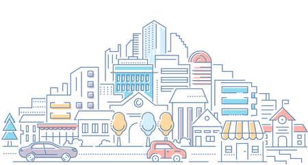 Nieruchomości - Nowoczesna linia styl wektor ilustracja na białym tle. Wysokiej jakości kompozycja z pejzażem miejskim, osiedlem, budynkami, sklepami, samochodami na drodze. Architektura miejska