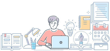 Copywriting - modern line design style vector illustration on white background. High quality composition with a young male freelance specialist working at the laptop. Creative writing concept