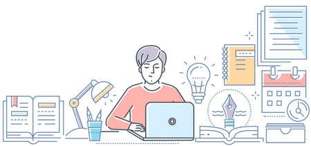 Redacción - ilustración de vector de estilo de diseño de línea moderna sobre fondo blanco. Composición de alta calidad con un joven especialista independiente trabajando en la computadora portátil. Concepto de escritura creativa Ilustración de vector