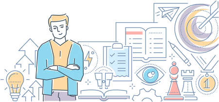 Personal development - modern line design style vector illustration on white background. High quality composition with a young confident man improving his skills, learning, using strategies at work