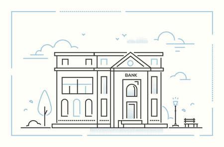 Bank - modern thin line design style vector illustration