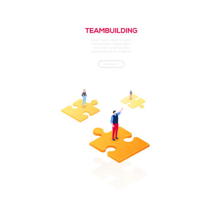 Teambuilding concept - modern isometric vector web banner on white background with copy space for text, information. High quality illustration with male, female business people on puzzle pieces