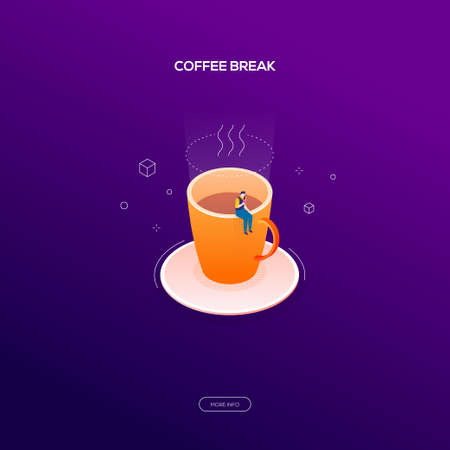 Coffee break - modern isometric vector web banner on dark purple background. High quality illustration with businessman, male office worker sitting on a big cup, eating a donut, relaxing, having lunch Banque d'images - 112995144