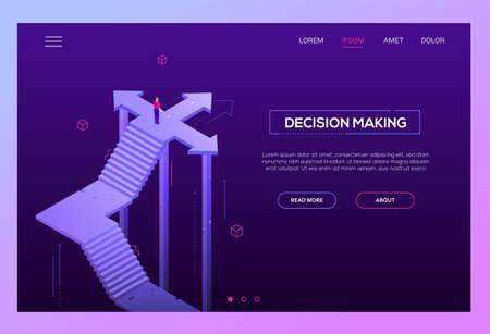 Toma de decisiones: encabezado de sitio web de vector isométrico moderno sobre fondo púrpura con espacio de copia para su texto. Banner de alta calidad con empresario de pie en la encrucijada, tratando de tomar una decisión