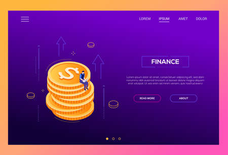 Finance concept - modern isometric vector web banner on purple background with copy space for text. High quality composition with businessman, manager sitting on a pile of coins working at the laptop Standard-Bild - 127216739