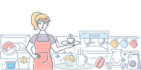 Barista at work - modern line design style illustration on white background. Colorful composition with worker, girl serving coffee, holding a tray with a cup, images of machine, beans, donuts, cupcake Illustration