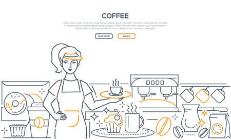 Coffee - modern line design style web banner on white background with copy space for text. A composition with a female barista holding a tray with a cup, images of machine, beans, donuts, cupcake