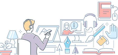 Online design course - modern line design style illustration
