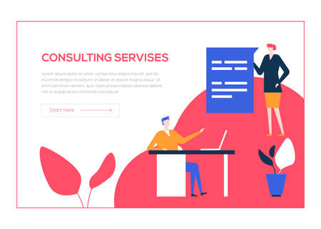 Consulting services - flat design style colorful web banner on white background with copy space for text. A composition with male, female specialists giving advice, providing support to the customers