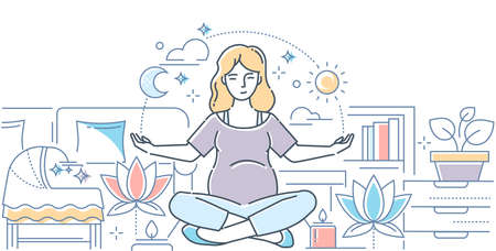 Pregnancy yoga - modern line design style illustration on white background. High quality composition with a woman expecting a baby, meditating in lotus position at home, images of cradle, candles