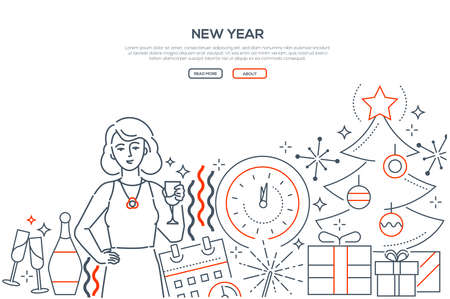 New year - modern line design style web banner on white background with copy space for text. A composition with a woman celebrating, Christmas tree, gifts, champagne glasses, clock, calendar