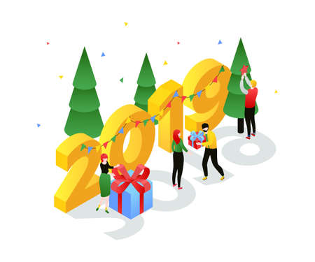 Happy New Year - modern colorful isometric vector illustration with 2019 number on white background. A composition with male, female characters decorating Christmas trees, giving each other presents