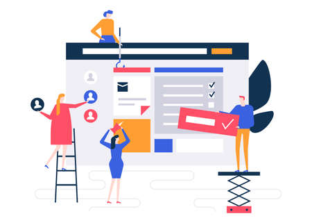 Efficient planning - flat design style colorful illustration on white background. A composition with male, female colleagues, business team forming check lists for the company. Task management concept