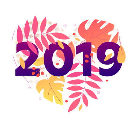 Happy New Year - modern flat design style illustration with floral composition, 2019 in heart shape on white background. Flowers, leaves, herbal elements. Perfect as greeting card, invitation, banner