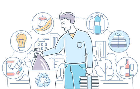 Recycling - modern line design style colorful illustration on white background. A man throwing litter, sorting waste, icons of recyclable plastic, lightbulbs, organic, paper, glass. Eco city concept