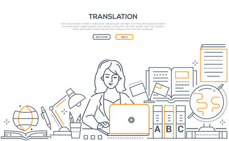 Translation - modern line design style web banner on white background with copy space for text. A composition with a woman, female worker working at laptop, images of workplace, globe, dictionaries Stock Vector - 127098645