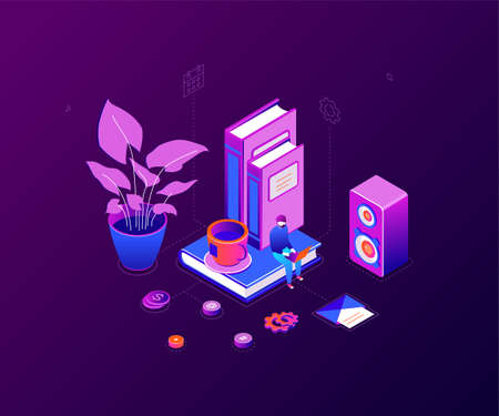 Freelance worker - modern colorful isometric vector illustration on purple background. A composition with a male specialist working at the laptop, images of books, speaker, cup of tea, plant, email