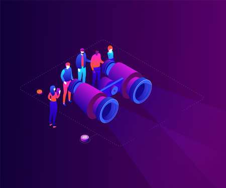 Business strategy - modern colorful isometric vector illustration on purple background. A composition with a team, male, female colleagues looking through big binoculars, trying to find best solution  イラスト・ベクター素材