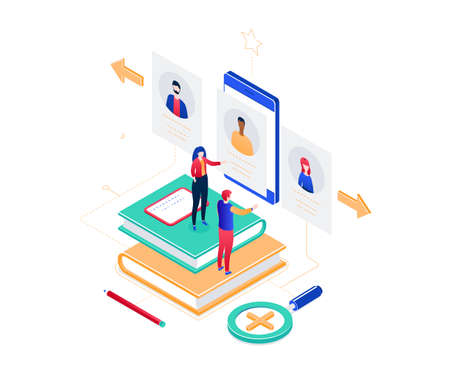 HR management - modern colorful isometric vector illustration on white background. High quality composition with male, female managers choosing the best candidate, looking at CVs on smartphone screen