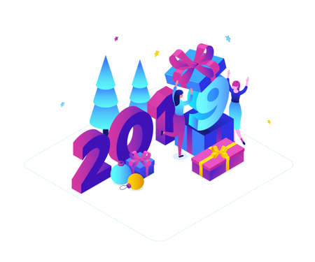 Happy New Year - modern colorful isometric vector illustration with 2019 number on white background. Purple colored composition with female characters giving presents, Christmas trees, decorations Stock Photo