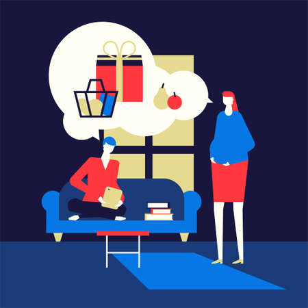 Shopping online - flat design style colorful illustration. High quality composition with cute characters, pregnant woman that wants some products, her husband ordering things with the tablet