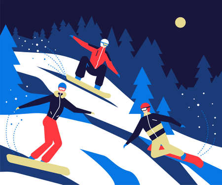 Winter sports, snowboarding - flat design style colorful illustration. High quality composition with active people in outfits and goggles on ski resort, hitting the slope, having a good time